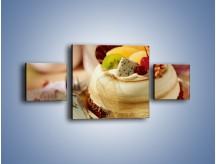 Obraz na płótnie – Bezowy torcik owocowy – trzyczęściowy JN256W4