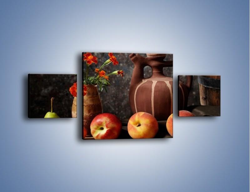 Obraz na płótnie – Kwiaty wśród owoców – trzyczęściowy JN280W4