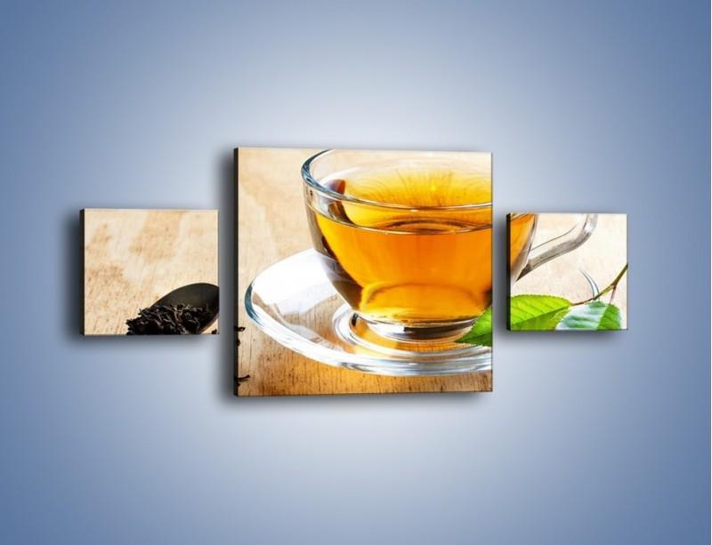 Obraz na płótnie – Listek mięty dla orzeźwienia herbaty – trzyczęściowy JN290W4