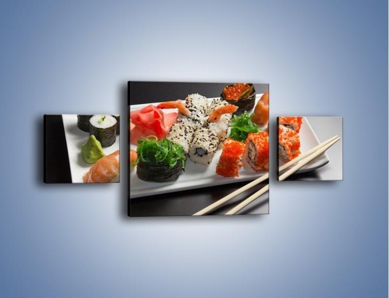 Obraz na płótnie – Kuchnia azjatycka na półmisku – trzyczęściowy JN295W4