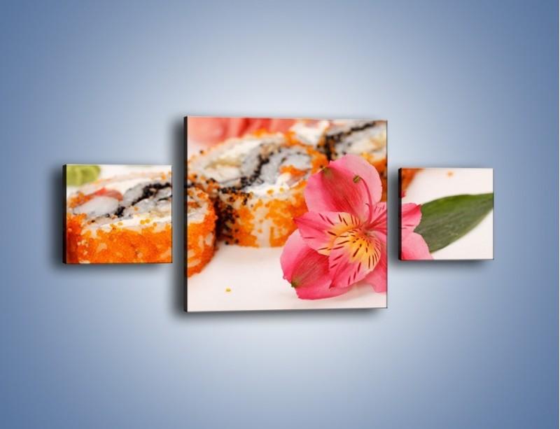 Obraz na płótnie – Sushi z kwiatem – trzyczęściowy JN354W4