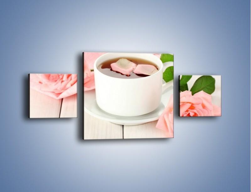 Obraz na płótnie – Herbata wśród róż – trzyczęściowy JN369W4