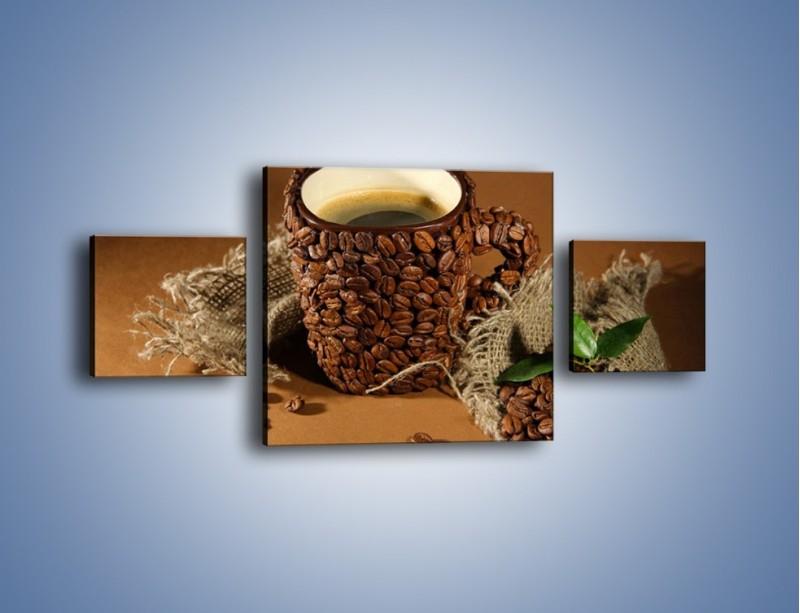 Obraz na płótnie – Kubek z ziarnami kawy – trzyczęściowy JN388W4