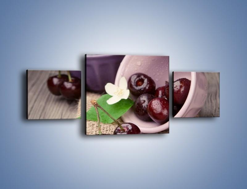 Obraz na płótnie – Wiśnie w małych pucharkach – trzyczęściowy JN399W4