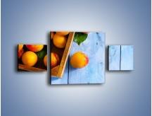 Obraz na płótnie – Brzoskwinie w drewnianej skrzyni – trzyczęściowy JN404W4