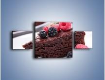 Obraz na płótnie – Czekoladowe brownie z owocami – trzyczęściowy JN408W4