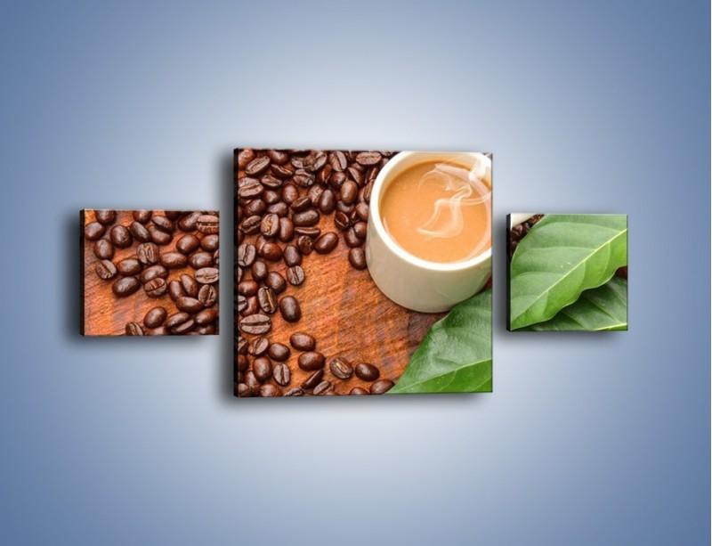Obraz na płótnie – Ziarna kawy pod liściem – trzyczęściowy JN417W4