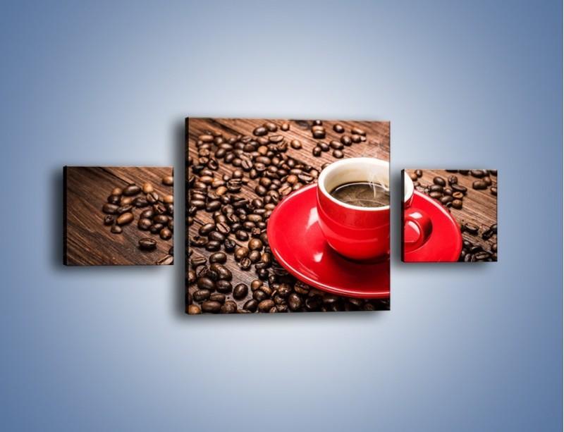 Obraz na płótnie – Kawa w czerwonej filiżance – trzyczęściowy JN441W4