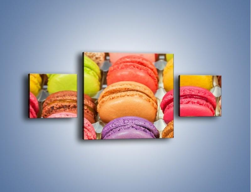Obraz na płótnie – Słodkie babeczki w kolorach tęczy – trzyczęściowy JN458W4