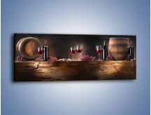Obraz na płótnie – Beczuszki czerwonego wina – jednoczęściowy panoramiczny JN142