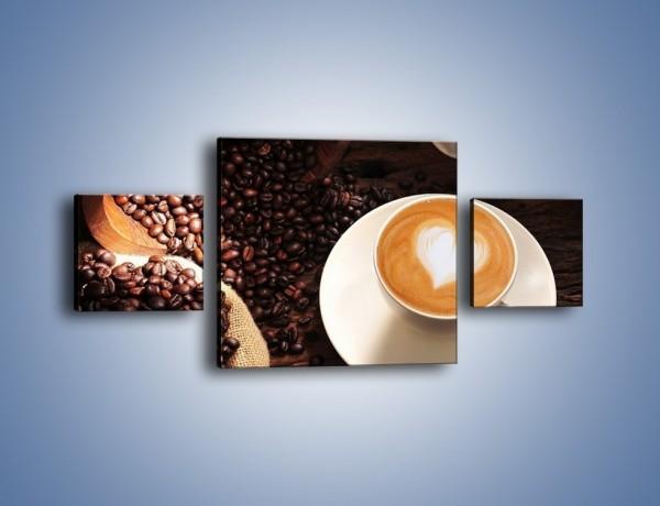 Obraz na płótnie – Kawa z białym sercem – trzyczęściowy JN546W4