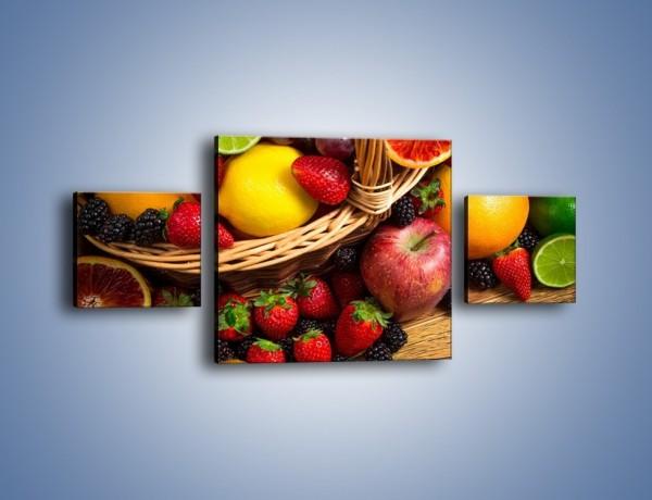 Obraz na płótnie – Kosz zatopiony w owocach – trzyczęściowy JN635W4