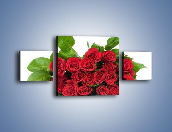 Obraz na płótnie – Idealna wiązanka czerwonych róż – trzyczęściowy K018W4