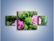 Obraz na płótnie – Bukiet róż wypełniony trawką – trzyczęściowy K068W4
