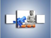 Obraz na płótnie – Budda i kwiat – trzyczęściowy K593W4