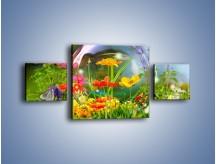 Obraz na płótnie – Bańkowy świat kwiatów – trzyczęściowy K691W4