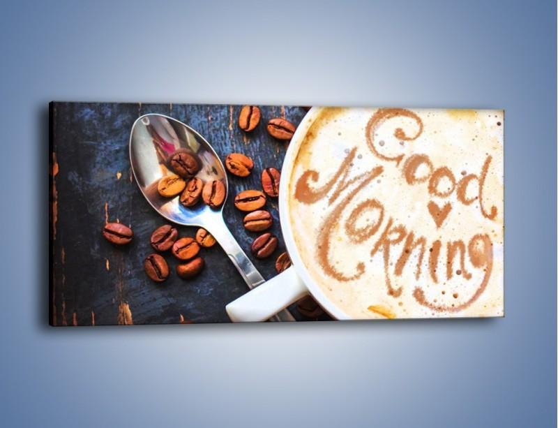 Obraz na płótnie – Kawa na miły początek dnia – jednoczęściowy panoramiczny JN180