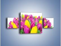 Obraz na płótnie – Bukiet fioletowo-żółtych tulipanów – trzyczęściowy K778W4
