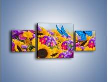 Obraz na płótnie – Bajka o kwiatach i motylach – trzyczęściowy K794W4