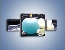 Obraz na płótnie – Błękit świecy z kwiatem – trzyczęściowy K887W4