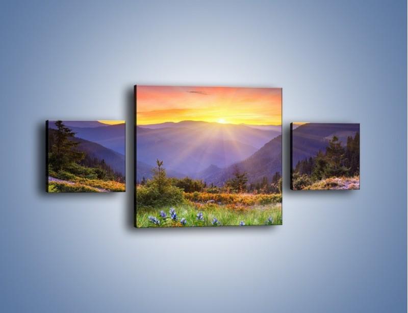 Obraz na płótnie – Góry o zachodzie słońca – trzyczęściowy KN014W4