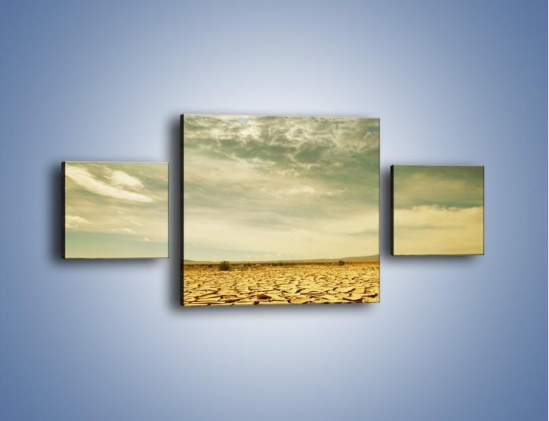Obraz na płótnie – Ciemne chmury nad popękaną ziemią – trzyczęściowy KN025W4