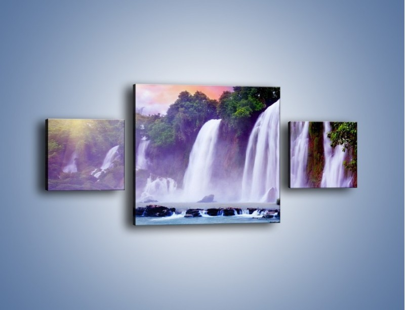 Obraz na płótnie – Wodospady jak z bajki – trzyczęściowy KN026W4