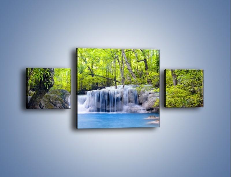 Obraz na płótnie – Mały leśny wodospad – trzyczęściowy KN057W4