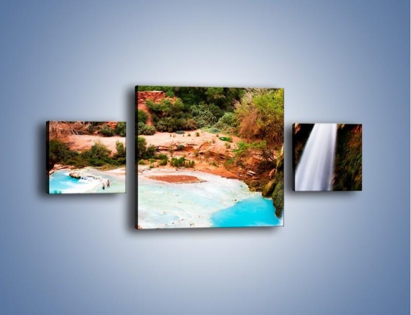 Obraz na płótnie – Zabawy przy wodospadzie – trzyczęściowy KN095W4