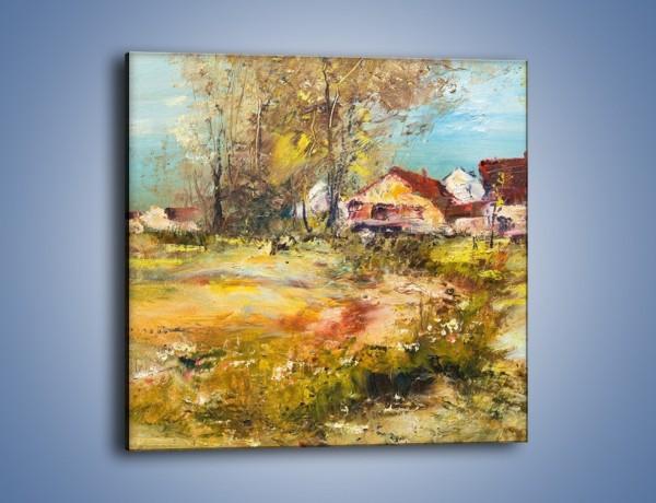 Obraz na płótnie – Wieś pędzlem malowana – jednoczęściowy kwadratowy GR614