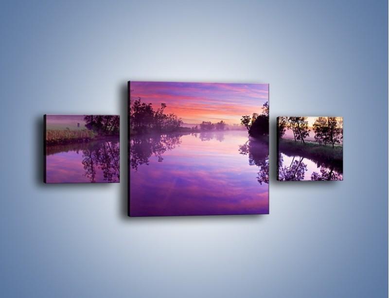 Obraz na płótnie – Fiolet w wodzie i na niebie – trzyczęściowy KN1046W4