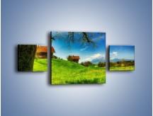 Obraz na płótnie – Chatki na polanie – trzyczęściowy KN1085AW4