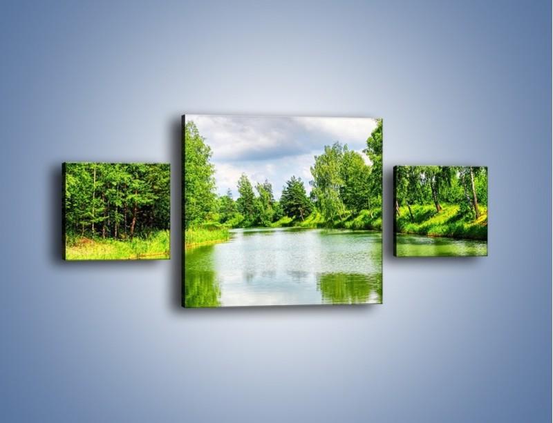 Obraz na płótnie – Spokojna woda i las – trzyczęściowy KN1086W4