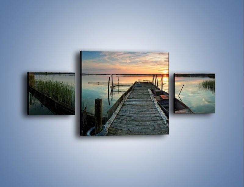 Obraz na płótnie – Stary most i łódź – trzyczęściowy KN1096AW4
