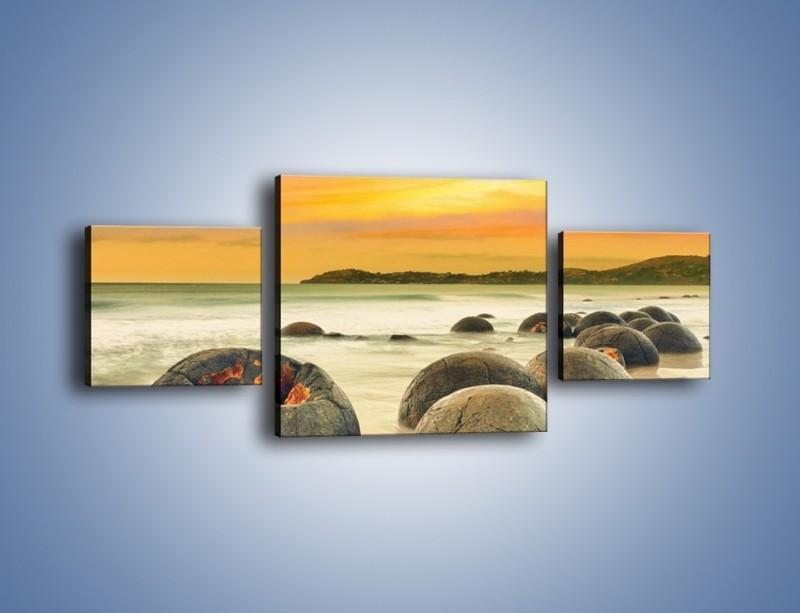 Obraz na płótnie – Popękane kamienne arbuzy – trzyczęściowy KN1125AW4