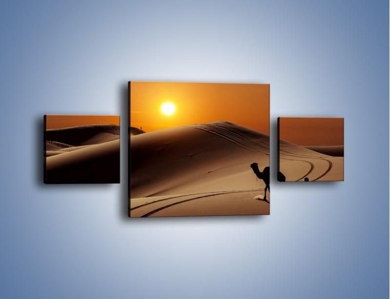 Obraz na płótnie – Człowiek wielbłąd i wydmy – trzyczęściowy KN1134AW4