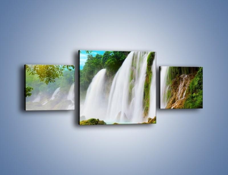 Obraz na płótnie – Wilgotny nawiew z wodospadu – trzyczęściowy KN1138AW4