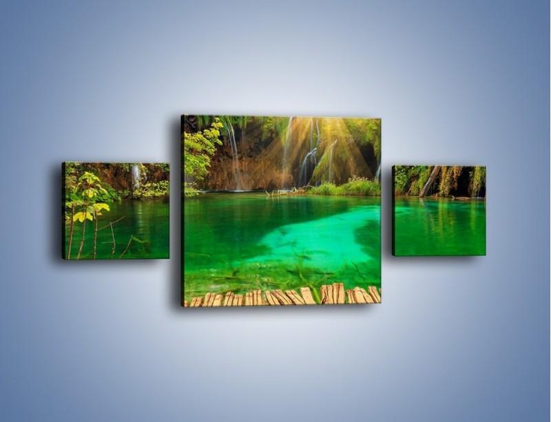 Obraz na płótnie – Zielone oczko wodne i drewno – trzyczęściowy KN1149AW4