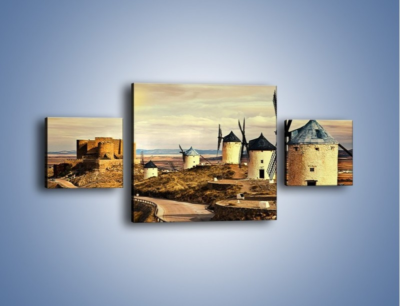 Obraz na płótnie – Młyny przy drodze do zamku – trzyczęściowy KN1154AW4