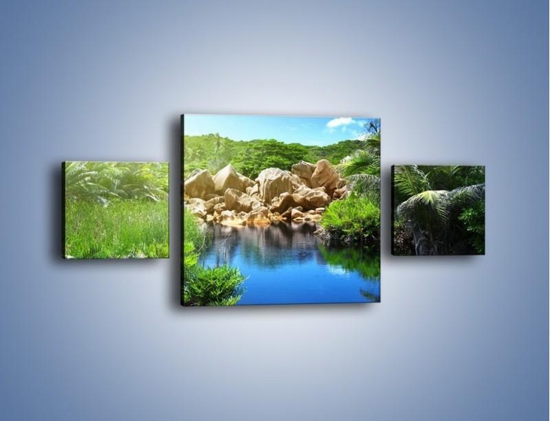 Obraz na płótnie – Wapienne skałki na wodzie – trzyczęściowy KN1188AW4