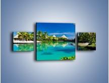 Obraz na płótnie – Biały piasek i palmy – trzyczęściowy KN1201AW4