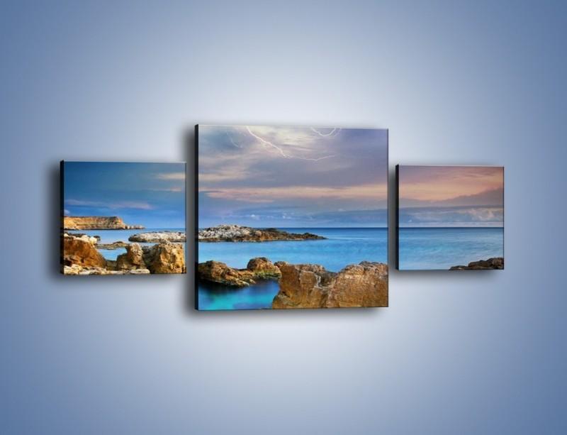 Obraz na płótnie – Pioruny nad oceanem – trzyczęściowy KN1203AW4