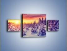 Obraz na płótnie – Choinki w śnieżnej szacie – trzyczęściowy KN1220AW4