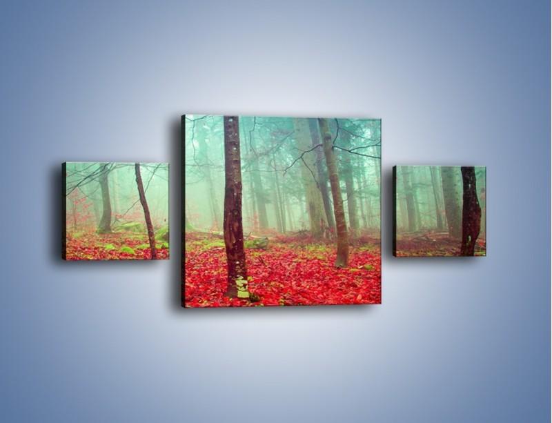 Obraz na płótnie – Drzewka na czerwonym dywanie – trzyczęściowy KN1222AW4