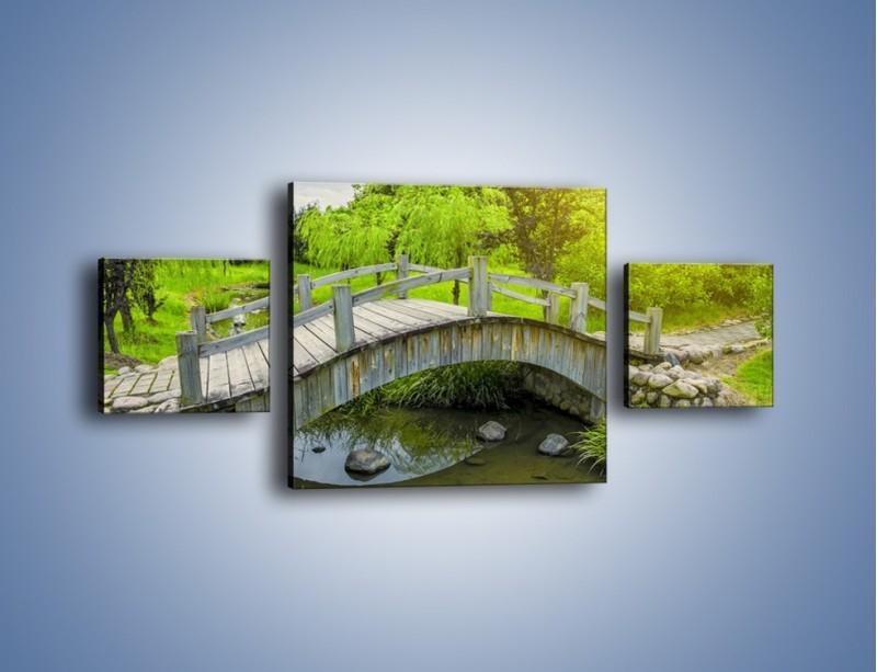 Obraz na płótnie – Mały mostek przez rzeczkę – trzyczęściowy KN1254AW4