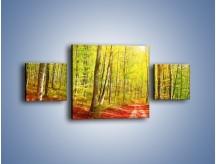 Obraz na płótnie – Brzózki liście i las – trzyczęściowy KN1345AW4