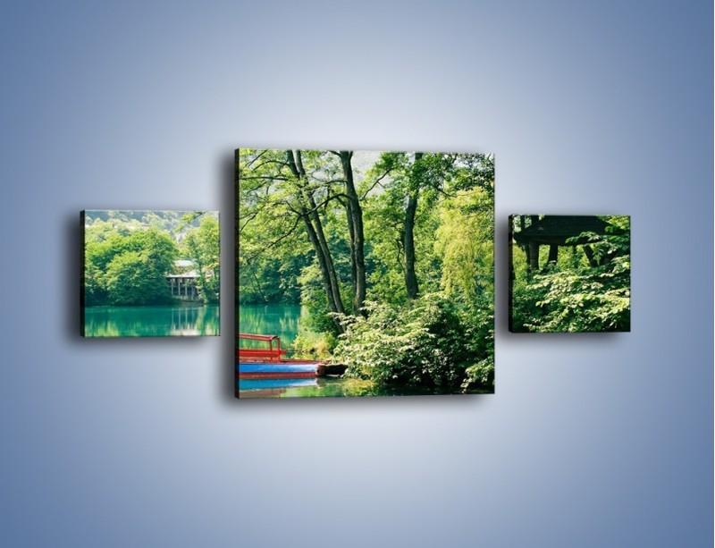 Obraz na płótnie – Wakacje nad jeziorem – trzyczęściowy KN155W4