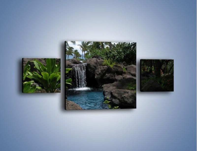 Obraz na płótnie – Wodospad wśród palm – trzyczęściowy KN208W4
