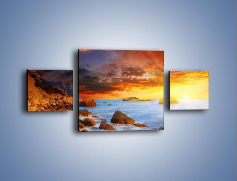 Obraz na płótnie – Słońce odbite w kamieniach – trzyczęściowy KN267W4