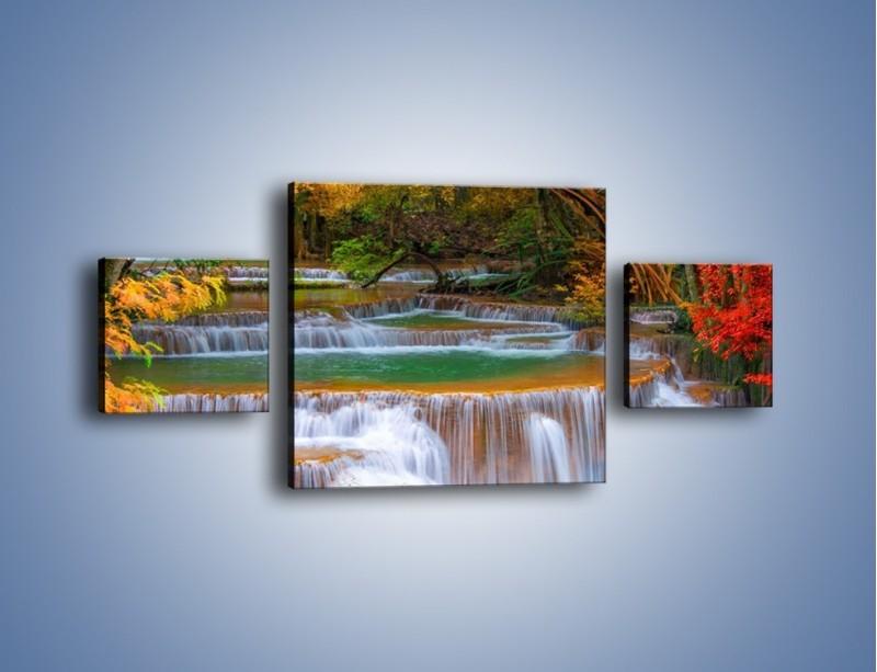 Obraz na płótnie – Schodki z wodospadów – trzyczęściowy KN287W4